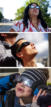 Three images of people looking at the sky while wearing cardboard glasses with silver colored lenses.