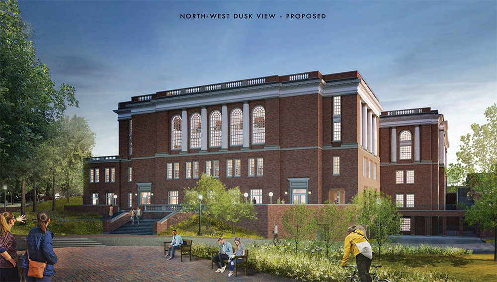 An evening view of proposed north entrance on University Ave. Windows show interior book storage and patio space allows for outdoor study.