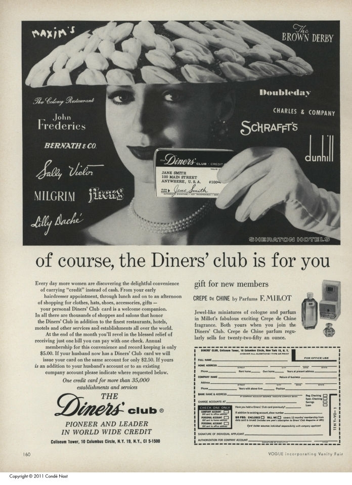 Old Diners' club advertisement showing a glamorous women holding a credit card, surrounded by names of businesses