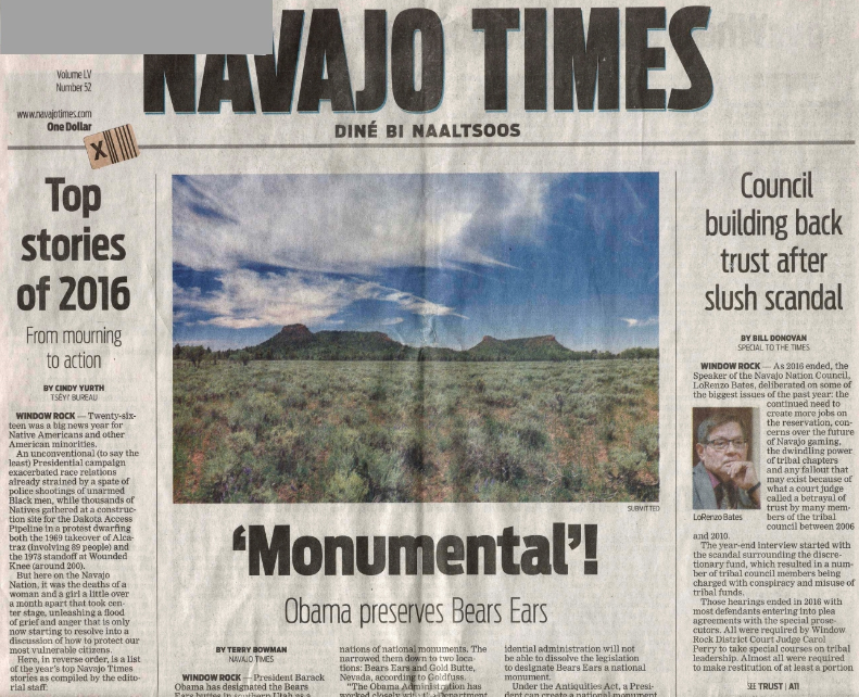 Front page of December 2016 issue of Navajo Times