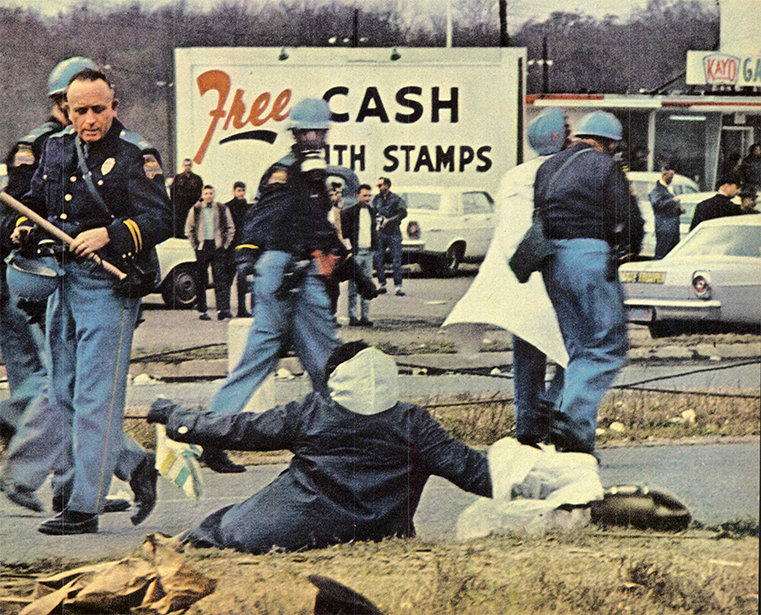 Color photo from Life Magazine of police attack on peaceful protesters at the first Selma march, 1965
